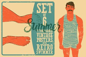 Typographic Swimming vintage poster.