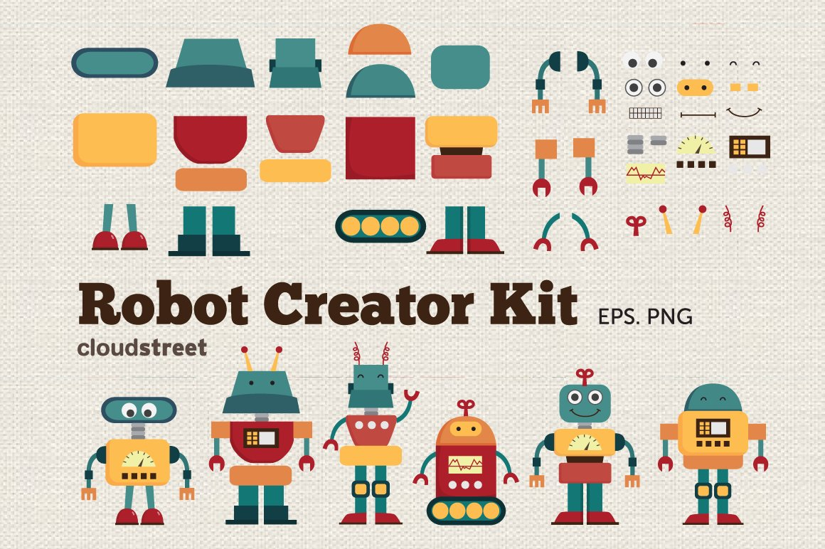 Clip Art Clip Art Creator monster creator kit clipart illustrations on creative market robot clipart