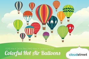 Colorful Hot Air Balloons Clipart
