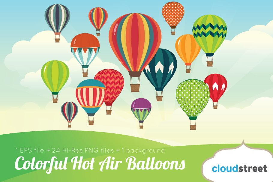 Colorful Hot Air Balloons Clipart Illustrations Creative Market