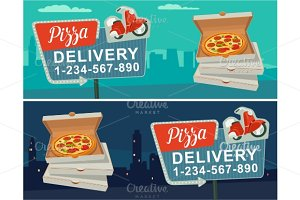 Retro sign Delivery pizza moped