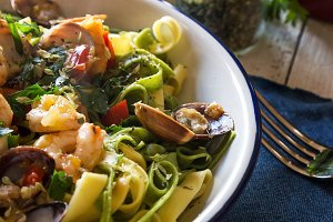 Delicious Italian pasta with seafood