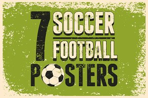 Soccer typographic vintage poster.