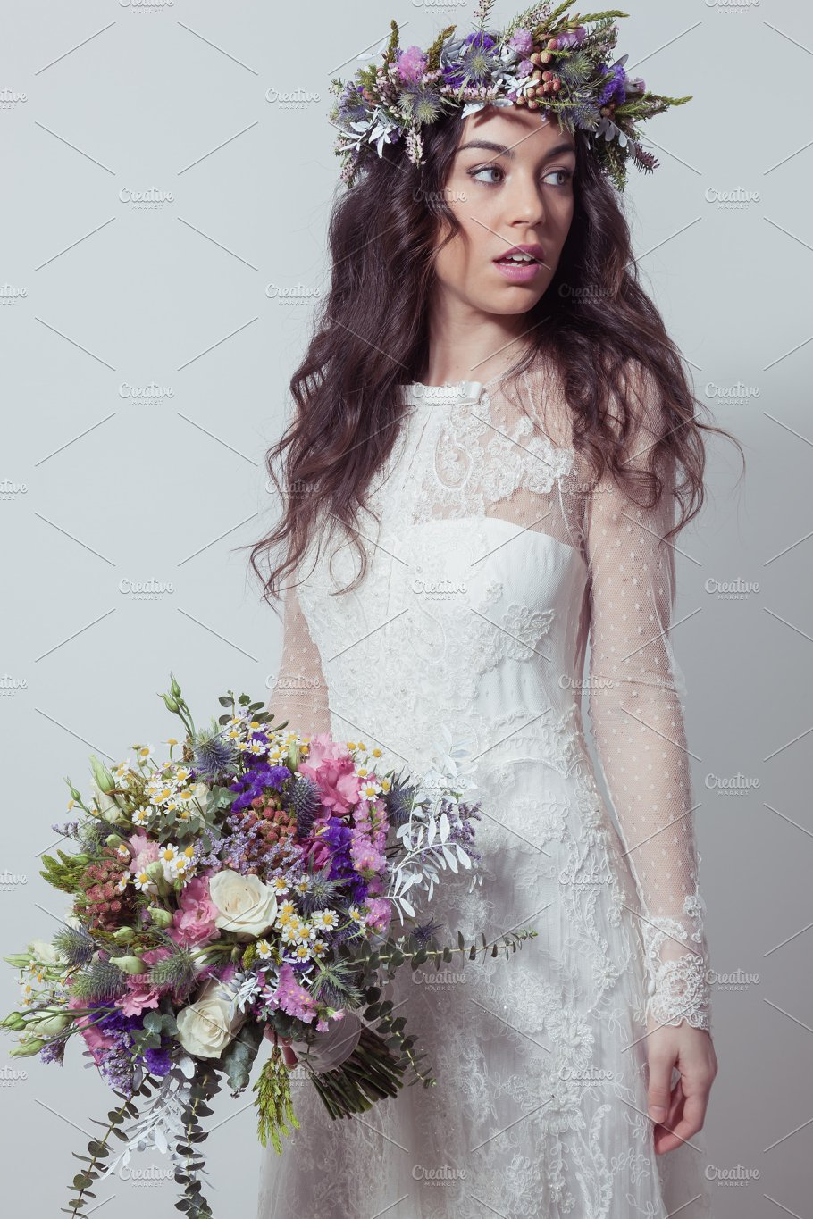 Bride with bouquet and flower crown people images creative market bride with bouquet and flower crown people izmirmasajfo