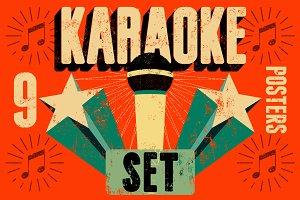 Karaoke typographic retro poster.