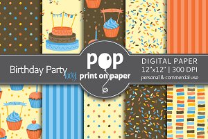 Birthday Party Boy - digital paper