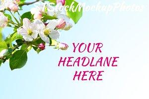 Apple blossom styled mockup