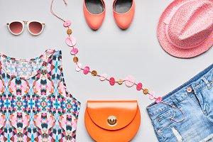 Urban Fashion summer girl clothes accessories set.
