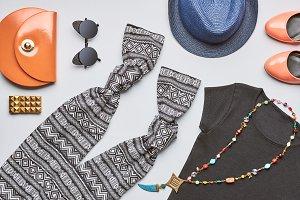 Urban Fashion girl clothes set. Street style