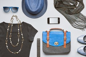 Fashion hipster clothes accessories set. Overhead