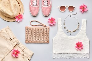 Summer Fashion girl clothes set. Street style