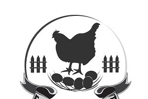 chicken farm emblem, hen, icon