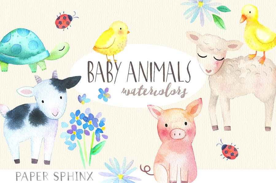 Cute Baby Animals Watercolor Pack Illustrations