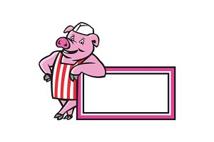 Butcher Pig Leaning On Sign Cartoon
