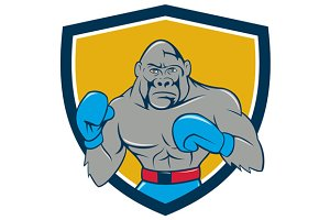 Gorilla Boxer Boxing Stance Crest