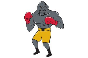 Gorilla Boxer Boxing Stance Cartoon
