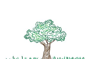 Tree vector symbol, sketch