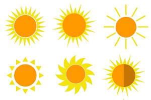 Sun 9 icons set vector illustrations