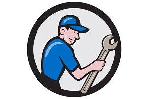 Handyman Holding Spanner Circle