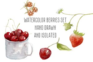 Watercolor set of berries hand drawn