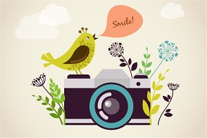 Vintage camera & bird