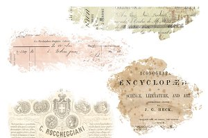 French Vintage Ephemera Overlays