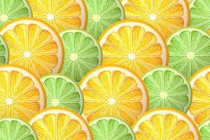 Lime  & orange seamless pattern