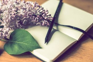 lilac and notebook