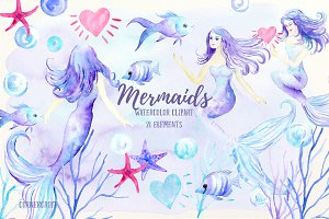 Watercolor Mermaid Clipart