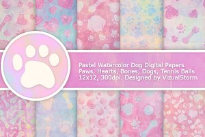 Pastel Watercolor Dog Patterns