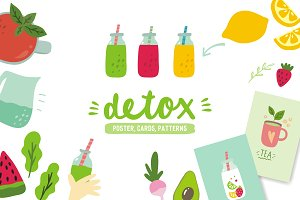 Detox poster, cards, patterns