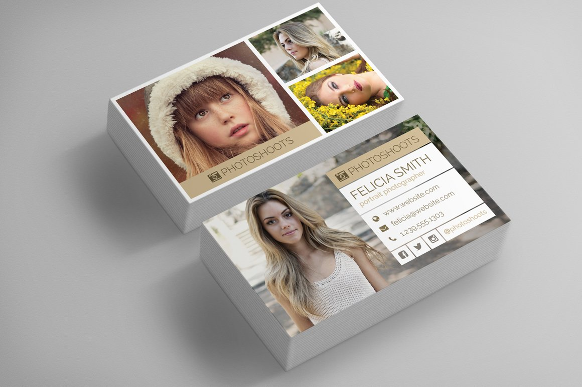 Photographer business card template business card templates photographer business card template business card templates creative market reheart Image collections