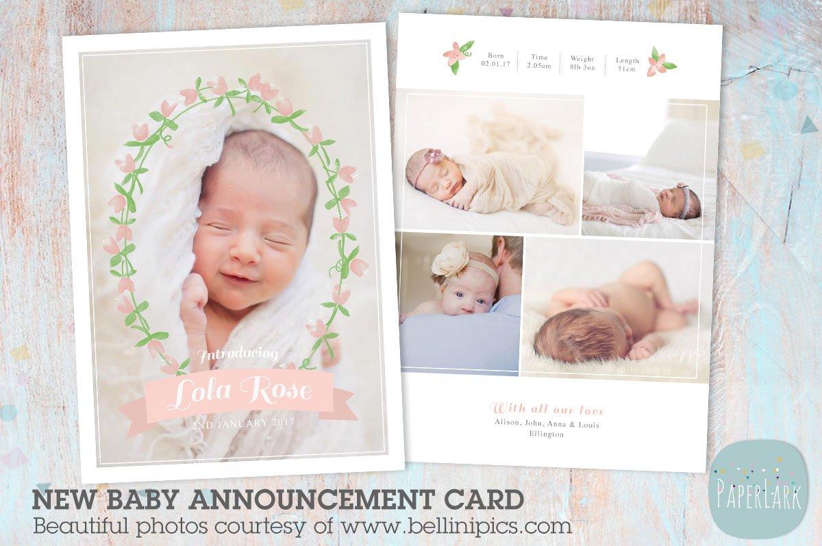 an002 newborn baby card announcement card templates creative market
