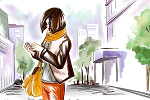 Watercolor girl on the city street