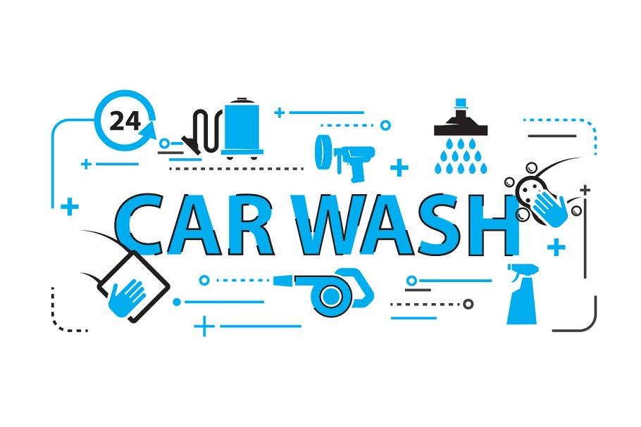 Car Wash Background Web Elements Creative Market