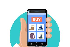 Online Shop Icon Flat. Sale and Buy