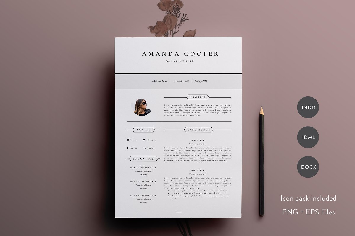 3 Page Resume Template | INDD + DOCX ~ Resume Templates