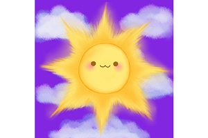 Cute cartoon smiling sun vector