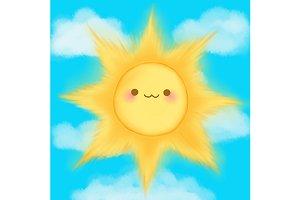 Cute cartoon smiling sun vector