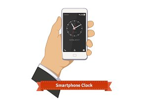 Hand holding smartphone with clock