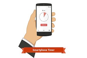 Hand holding smartphone with timer