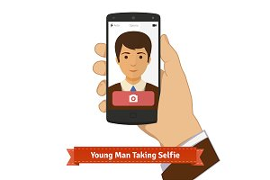 Young man taking selfie photo