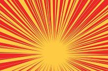 Red yellow retro rays vector