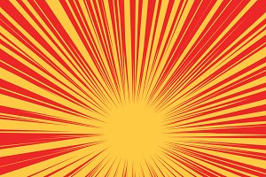 Red yellow retro rays vector