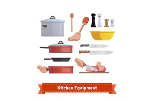 Set of cooking equipment.