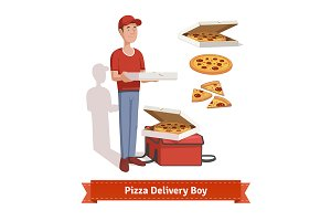 Delivery boy holding pizza box