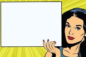 Brunette girl holding a blank