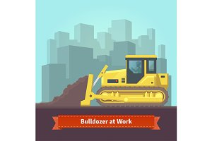 Excavator tractor at work