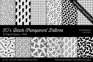 80s Black Transparent Digital Papers