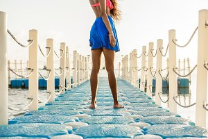 Beautiful black girl at the beach.